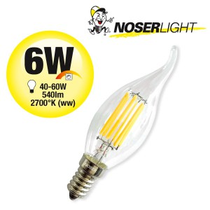 NOSER LED E14 Kerze C35, DIMMBAR, klar, 6W , 540lm, 2700°K - warmweiss, Art. Nr. 448.06D