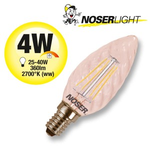NOSER Filament LED Kerze C35 gedreht, goldgelüstert, 4W, 360lm, warmweiss, Art. Nr. 449.041