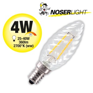 NOSER Filament LED Kerze C35 gedreht, klar, 4W, 360lm, warmweiss, Art. Nr. 449.042