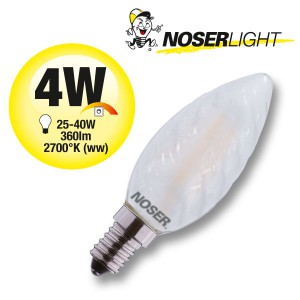 NOSER Filament LED Kerze C35 gedreht, matt, 4W, 360lm, warmweiss, Art. Nr. 449.04