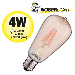NOSER Filament LED ST64, goldgelüstert, E27, 4W, 430lm, warmweiss