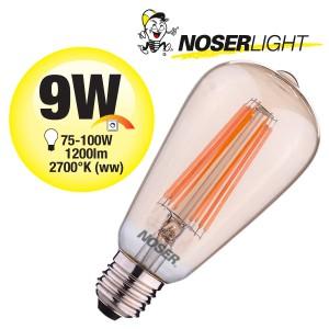 NOSER Filament LED ST64, goldgelüstert, E27, 9W, 1200lm, warmweiss