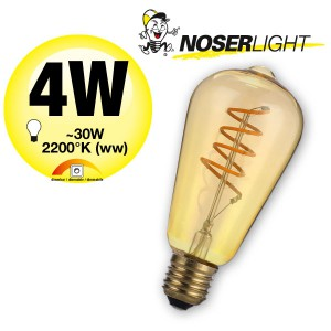NOSER Filament LED ST64, goldgelüstert, E27, 5W, 170lm, warmweiss 2200°K, Art. 551.05