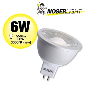 NOSER MR16 LED, 12V, 6W, 550lm/2560cd, 36°, 2700°K warmweiss, dimmbar, Art. Nr. 568.072