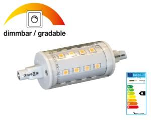 R7s LED 5W, >400lm, 85~265V, 2700°K (ww) DIMMBAR