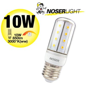 NOSER LED E27, klar, 10W, 850lm, 3000°K warmweiss, dimmbar, Art.-Nr. 835.10WW