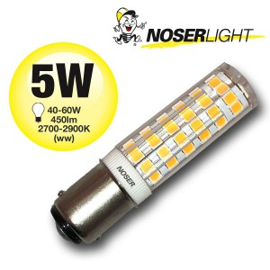 NOSER Mini LED, B15d, 5W, 230V, ~2800K, warmweiss