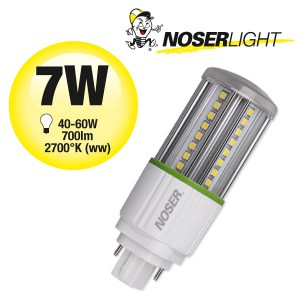 NOSEC-D LED, G24d, 7W, 2700°K, 85-285V, Art. Nr.: 881.07WW