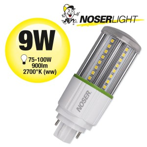 NOSEC-D LED, G24d, 9W, 2700°K, 85-285V, Art. Nr.: 881.09WW