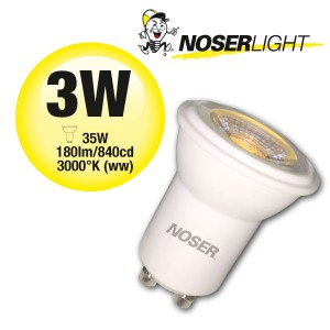 NOSER-LED MR11, 3W, 240V, GU10, 30°, 3000°K warm weiss, dimmbar