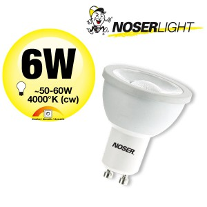 NOSER LED GU10 DIMMBAR 10-100%, MR16, 50mm, 6W, 590lm/700cd, 240V, 4000°K cw, Art. Nr. 8836.14