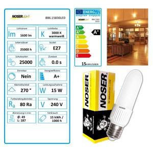 NOSER LED NOSEC-E E27, 15W, >1600lm, 830/3000°K, Art.-Nr. 886.15830LED