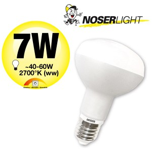 NOSER LED-R63, 230V, E27, 7W, dimmbar, 180°, 2700°K, Art. Nr. 926.07