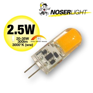 NOSER LED Stiftsockel G4, 2.5W,  300lm, 12V, 3000°K - warmweiss, dimmbar