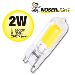 NOSER COB LED Stiftsockel G9, 2W, 230VAC, warmweiss - 2700°K