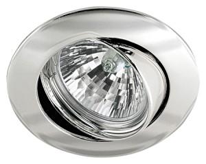 Einbauleuchte rund, geeignet fuer  GU10-GZ10 - MR16 51mm- Halogen und LED Retrofit, Farbe chrom, verstellbar