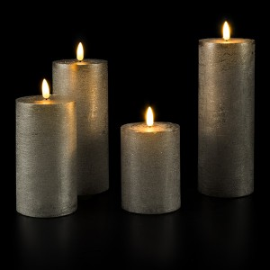 Flat Candle Set large grey