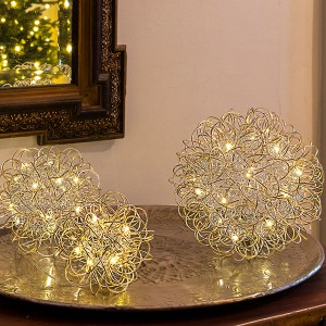 Champagne Ball Set, 45LED ww, D22.5/17.5/12cm, 3xAA - Timer 6/18, indoor, champagne, warmweiss,