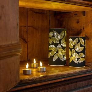 Glass Leaves schwarz, 15LED, ww, D9cm x H16cm, 3x AA - Timer 6/18, indoor, schwarz, warmweiss,