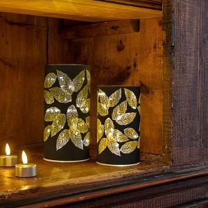 Glass Leaves schwarz, 20LED, ww, D10cm x H20cm, 3x AA - Timer 6/18, indoor, schwarz, warmweiss,