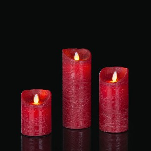 LED Set Wax Candle red