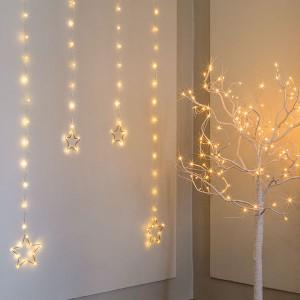 Angel Star Curtain , 56LED ww, 90x90cm, silbern, 12V/6W - 5m Kabel , indoor&outdoor, silbern, warmweiss,
