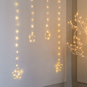 Angel Star Curtain , 84LED ww, 90x160cm, silbern, 12V/6W - 5m Kabel, indoor&outdoor, silbern, warmweiss,