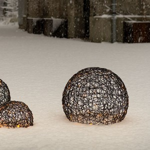 Rattan Ball, 140LED ww, D45cm, 4.5V/1.35W - 5m Kabel, indoor&outdoor, brown, warmweiss,