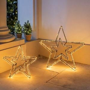 3D Double Star Nero , 420LED sww, D58cm, schwarz, 12V/9W - 5m Kabel, indoor&outdoor, schwarz, sunny-ww