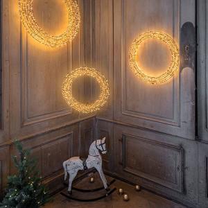 Angel Wreath Nero , 1200LED sww, D60x7cm, schwarz, 12V/9W - 5m Kabel, indoor&outdoor, schwarz, sunny-ww