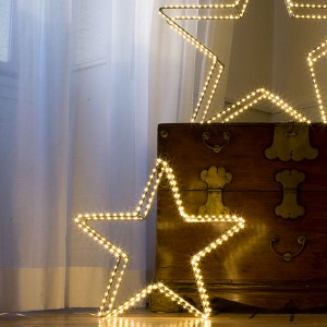3D Star Argento, 180LED ww, D38cm, silbern, 4.5V/6W - 5m Kabel, indoor&outdoor, silbern, warmweiss,