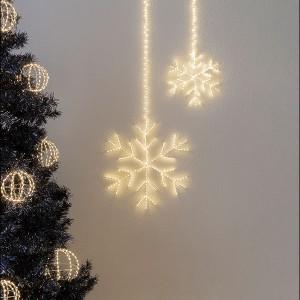 Angel Flake Argento , 255LED ww, D30cm, silbern, 4.5V/6W - 5m Kabel, indoor&outdoor, silbern, warmweiss,