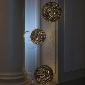 Glamour Ball schwarz , 40LED ww, D25cm, 4.5V/1.35W - 5m Kabel, indoor, schwarz, warmweiss,
