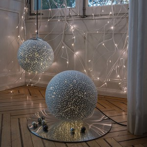 Glamour Ball weiss,  , 60LED ww, D30cm, 4.5V/1.35W - 5m Kabel, indoor, weiss, , warmweiss,