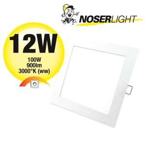 "LED ""Slim"" Downlight / Einbauleuchte weiss, quadratisch, 12W, 900lm, 3000°K, warmweiss, DLQ12W-WW"