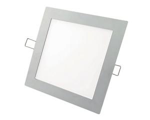 """LED """"Slim"""" Downlight / Einbauleuchte, Farbe silber, quadratisch, 12W, warm weiss 2700-3500°K"""