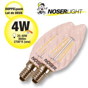 DOPPELPACK! NOSER Filament LED Kerze C35 gedreht, goldgelüstert, 4W, 360lm, warmweiss, Art. Nr. DP449.041