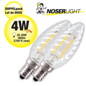 DOPPELPACK! NOSER Filament LED Kerze C35 gedreht, klar, 4W, 360lm, warmweiss, Art. Nr. 449.042