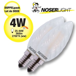 DOPPELPACK! NOSER Filament LED Kerze C35 gedreht, matt, 4W, 360lm, warmweiss, Art. Nr. DP449.04