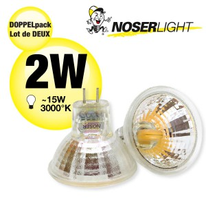 DOPPELPACK!  NOSER-LED MR11, 2W, 12V, GU4, 120°, 3000°K warm weiss, Art.-Nr. DP8835.021