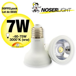 DOPPELPACK!  NOSER High Performance LED-PAR20, 7W, 45°, IP20, warmweiss, semi-dimmbar,                                             Art.-Nr. 8840.071