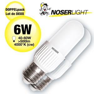 DOPPELPACK! LED NOSEC-E E27, 6W, >500lm, 840/4000°K, Art. Nr. 886.06840LED