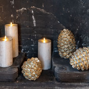 Pinecone Gold 19, gold finish, H19x18cm, Polyresin, indoor, gold,