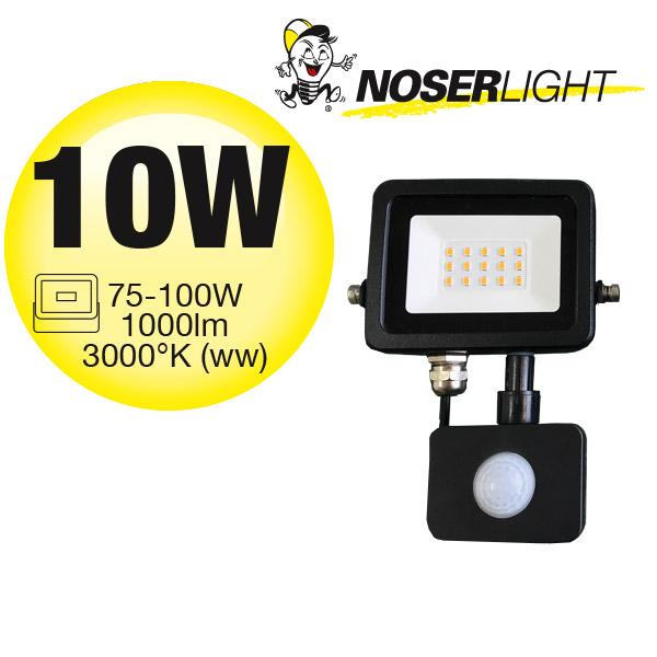 NOSER iLight LED-Strahler mit Bewegungsmelder, schwarz, 10W