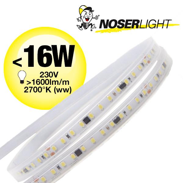 LED Strip 230V, 2700K, warmweiss, IP65, <16W/m, 1600-1750lm/m, CRI>80