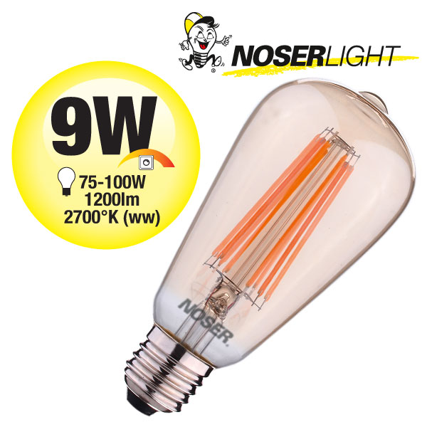 NOSER Filament LED ST64, goldgelüstert, E27, 9W, 1200lm, warmweiss