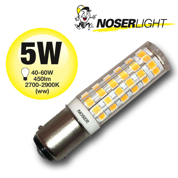 NOSER Mini LED, B15d, 5W, 230V, ~2800K, warmweiss