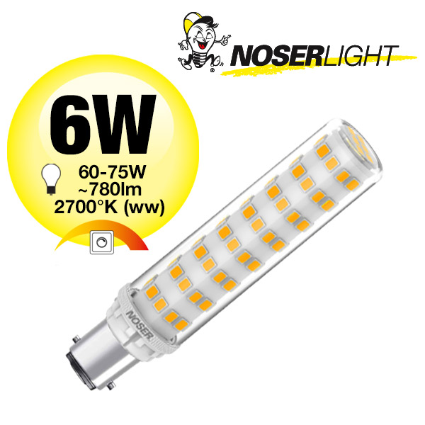 NOSER Mini LED, B15d, 6W, 230V, 2700K, warmweiss