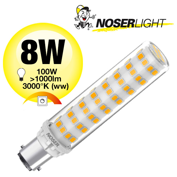 NOSER Mini LED, B15d, 8W, 230V, 3000°K, warmweiss