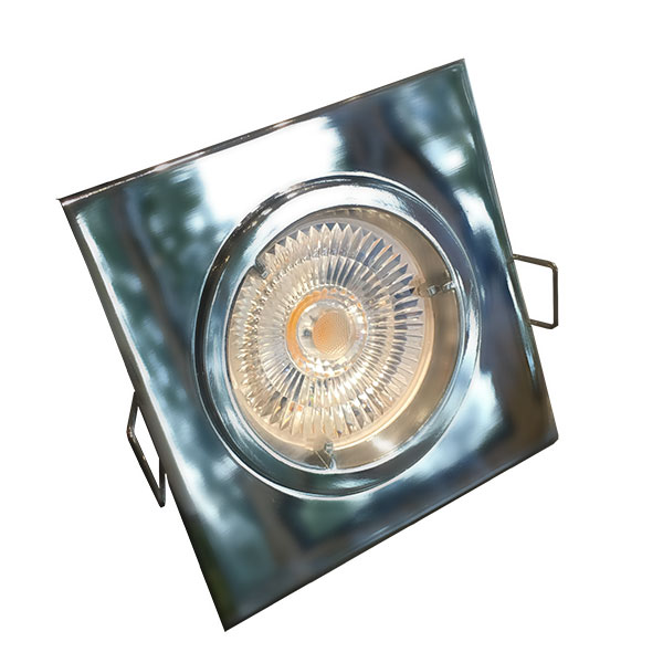Einbauleuchte quadratisch, chrom glanz, geeignet für 51mm LED GU10/MR16